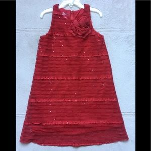 PIPPA & JULIE Red Sparkly Sequins Dress, Size 7
